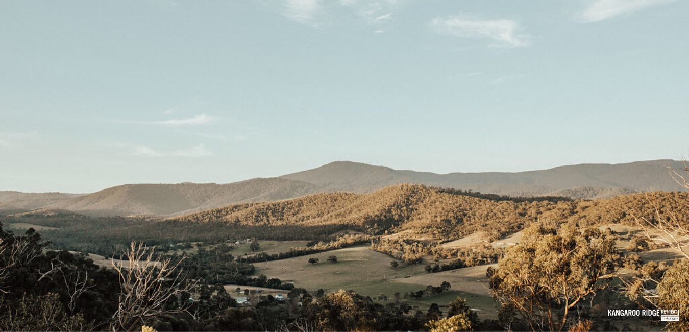 All cabins at Kangaroo Ridge Retreat have a magnificent view of the Yarra Ranges.