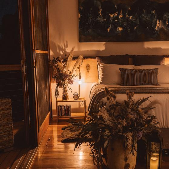 romantically lit bedroom